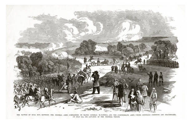 Battle of Bull Run Between Federal and Confederate Armies on July 21, 1861 Civil War Engraving vector art illustration