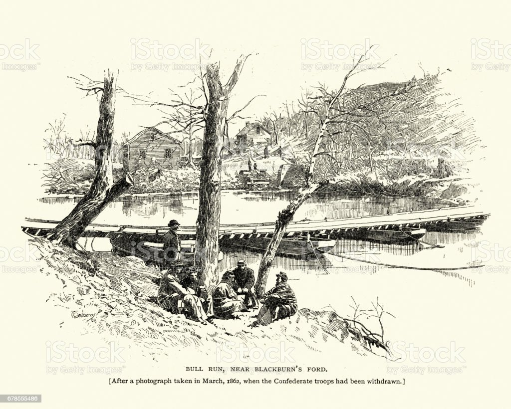 Battle of Bull Run, Near Blackburn's Ford, 1862 vector art illustration