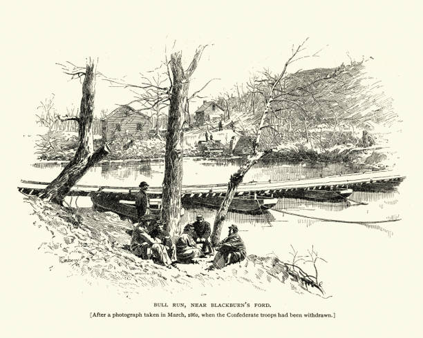 Battle of Bull Run, Near Blackburn's Ford, 1862 vector art illustration