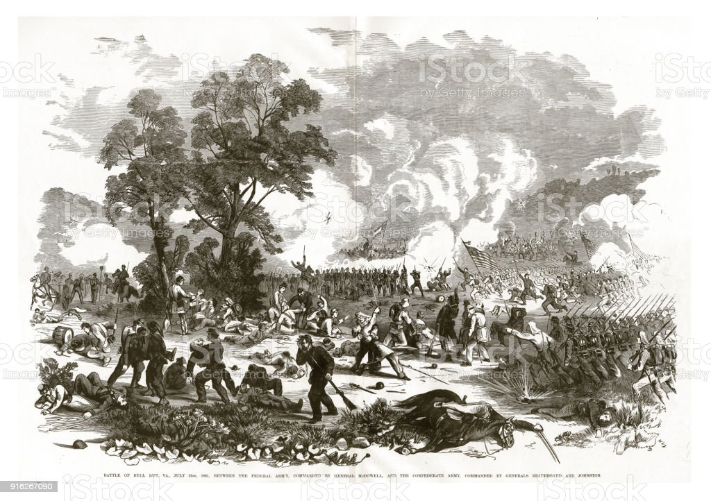 Battle of Bull Run, Virginia, July 21, 1861 Civil War Engraving vector art illustration