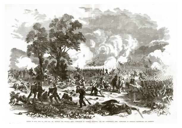Battle of Bull Run, Virginia, July 21, 1861 Civil War Engraving vector art illustration