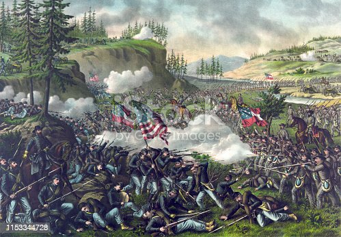 Vintage illustration features the Battle of Chickamauga, an American Civil War battle fought on September 18 – 20, 1863, between the U.S. Army of the Cumberland and the Confederate Army of Tennessee. It was the first major battle of the war fought in Georgia and resulted in a Confederate victory.