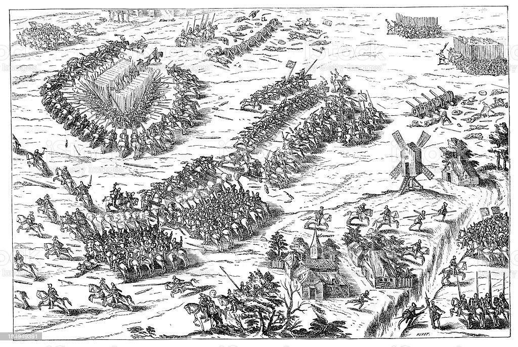 Battle of Dreux vector art illustration