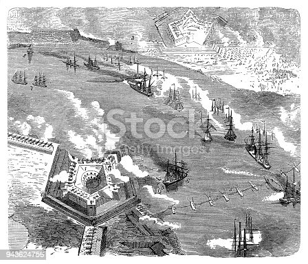 Illustration of a Battle of Forts Jackson and St. Philip ,1865 Civil War