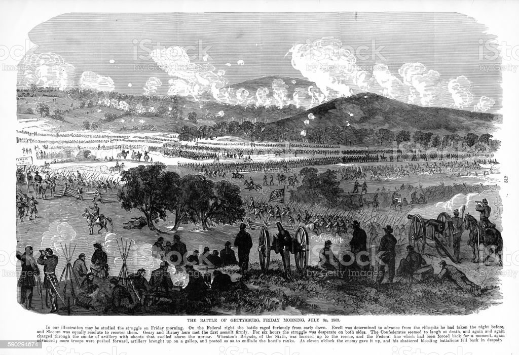 Battle of Gettysburg, Pennsylvania, July 3, 1863 Civil War Engraving battle of gettysburg pennsylvania july 3 1863 civil war engraving — стоковая векторная графика и другие изображения на тему 1860-1869 Стоковая фотография