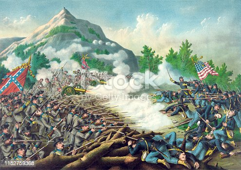 Vintage illustration features the Battle of Kennesaw Mountain, fought during the Atlanta Campaign of the American Civil War on June 27, 1864.