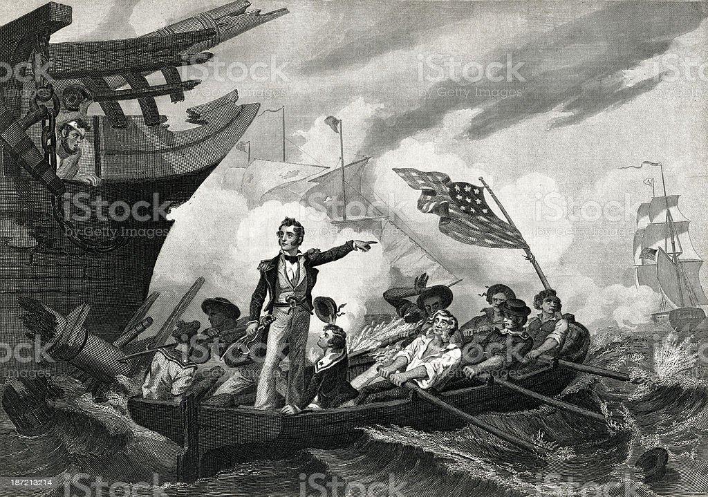 Battle Of Lake Erie vector art illustration