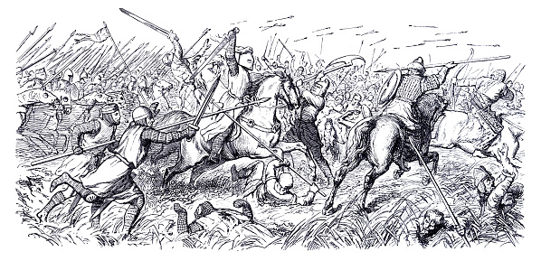 Battle of Legnica ( Liegnitz ), (9 April 1241). Mongol raiders in Poland defeated a European army containing much-feted Christian knights from the military orders of the Teutonic Knights, the Hospitallers, and the Templars. Original edition from my own archives Source : Bilder-Atlas - Ikonographische Encyklopädie 1870
