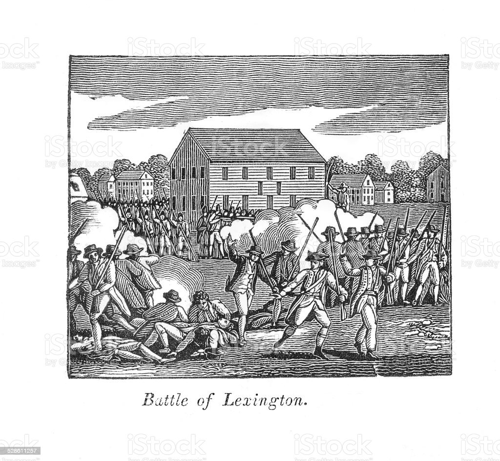 An engraving of a scene depicting the Battle of Lexington. The battle...