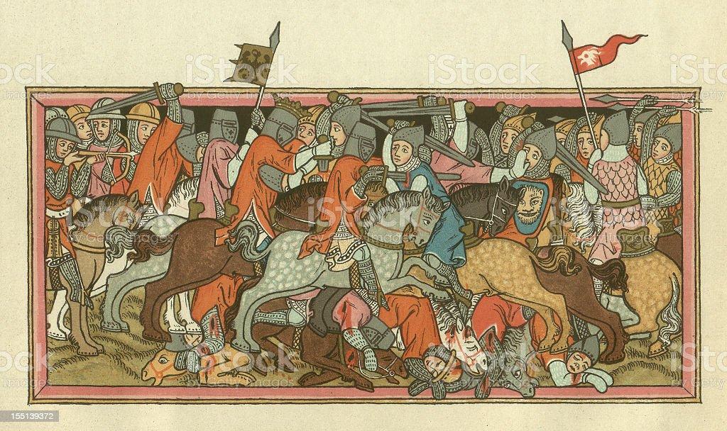 Battle of Mühldorf, on September 28, 1322, lithograph, published 1880 vector art illustration