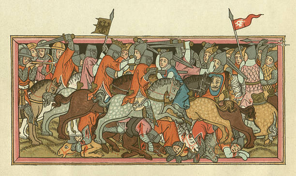 битва mühldorf, на 28 сентября 1322 - средневековье stock illustrations
