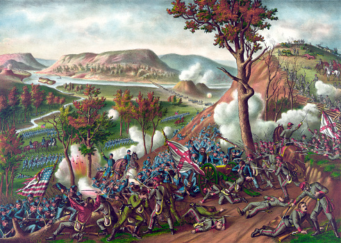 Vintage illustration features the Battle of Missionary Ridge, an American Civil War battle fought on November 25, 1863 between the U.S. Military Division of the Mississippi and the Confederate Army of Tennessee. The battle was fought in Chattanooga, Tennessee and resulted in a Union victory.