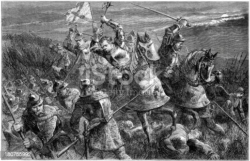 Vintage engraving showing Henry Percy's (Hotspur) night attack at the Battle of Otterburn in 1388