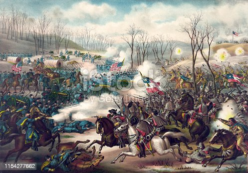 Vintage illustration features the Battle of Pea Ridge, an American Civil War battle fought from May 7 to 8, 1862 between the U.S. Army of the Southwest and the Confederate Army of the West. The battle was fought near Leetown, northeast of Fayetteville, Arkansas and resulted in a Union victory.