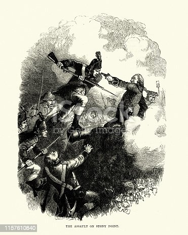 Vintage engraving of Battle of Stony Point took place on July 16, 1779, during the American Revolutionary War. In a well planned and executed nighttime attack, a highly trained select group of George Washington's Continental Army troops
