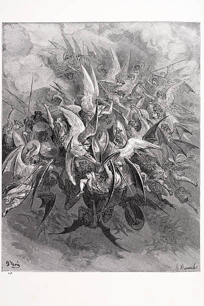 battle of the angels - mimari illüstrasyonlar stock illustrations