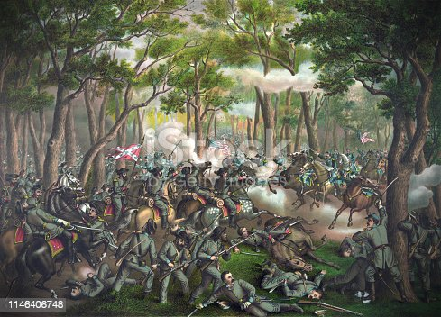 Vintage illustration featuring the Battle of the Wilderness, the first battle of Lieutenant General Ulysses S. Grant's 1864 Virginia Overland Campaign against General Robert E. Lee and the Confederate Army of Northern Virginia in the American Civil War. The battle was fought May 5-7, 1864.