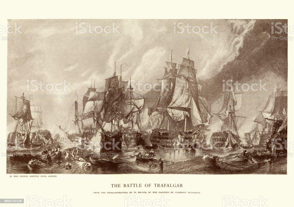 Battle of Trafalgar vector art illustration