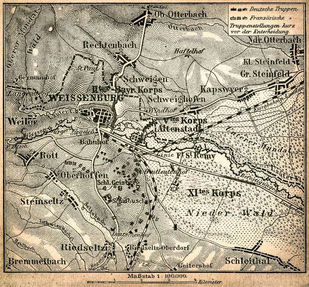 battle of wissembourg or battle of weissenburg map - world war ii stock illustrations, clip art, cartoons, & icons