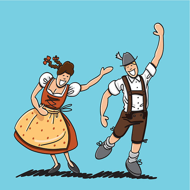 """Bavarian Couple Celebrating The Oktoberfest """"Vector illustration of a bavarian couple in Dirndl and Lederhosen. They are celebrating the Oktoberfest in Munich. The line art, color and background are on separate layers, so you also can use the illustration on your own background. The colors in the .eps-file are ready for print (CMYK). Included files: EPS (v8) and Hi-Res JPG."""" oktoberfest stock illustrations"""