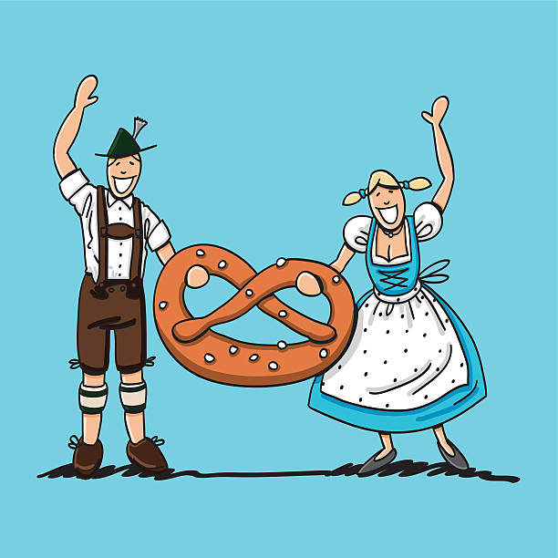 "Bavarian Couple Holding Pretzel ""Vector illustration of a waving bavarian couple in Dirndl and Lederhosen. They're holding a XXL Pretzel. The line art, color and background are on separate layers, so you also can use the illustration on your own background. The colors in the .eps-file are ready for print (CMYK). Included files: EPS (v8) and Hi-Res JPG."" doodle NOT black and white stock illustrations"