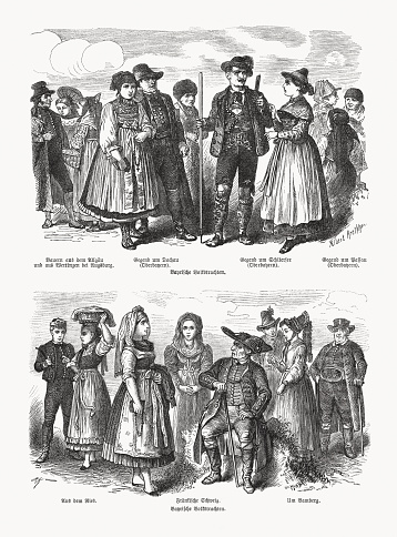 Bavarian folk costumes, top: Farmers from the Allgäu and from Wertingen near Augsburg, Area around Dachau (Upper Bavaria), Area around Schliersee (Upper Bavaria), Area around Passau (Upper Bavaria). Below: From the Ries, Franconian Switzerland, Area around Bamberg. Wood engravings, published in 1893.