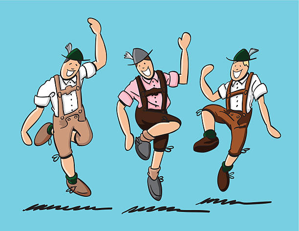 "Bavarian Folk Dance Lederhosen ""Sketchy vector illustration of 3 bavarian men in Lederhosen. They are doing the traditional 'Schuhplattler' folk dance at the Oktoberfest. The line art, color and background are on separate layers, so you also can use the illustration on your own background. The colors in the .eps-file are ready for print (CMYK). Included files: EPS (v8) and Hi-Res JPG."" doodle NOT black and white stock illustrations"