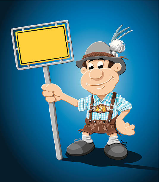 "Bavarian Lederhosen Man Yellow Sign ""Vector Illustration of a Bavarian, who is holding a blank german city road sign, where you can place your own text. The Guy is dressed with a typical bavarian Lederhosen. The background is on a separate layer, so you can use the illustration on your own background. The colors in the .eps-file are ready for print (CMYK). Included files: EPS (v8) and Hi-Res JPG."" cartoon people sign stock illustrations"