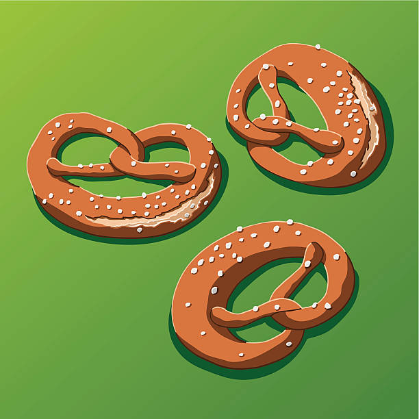 """Bavarian Pretzel """"Vector Illustration of some bavarian pretzels. Each piece is on a separate layer, so you can use the illustrations on your own background. The colors in the .eps-file are ready for print (CMYK). Included files: EPS (v8) and Hi-Res JPG."""" oktoberfest stock illustrations"""