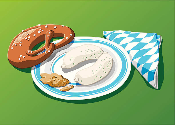 """Bavarian Weisswurst """"Vector Illustration of a bavarian meal: weisswurst with sweet mustard and a pretzel. The background is on a separate layer, so you can use the illustration on your own background. The colors in the .eps-file are ready for print (CMYK). Included files: EPS (v8) and Hi-Res JPG."""" oktoberfest stock illustrations"""