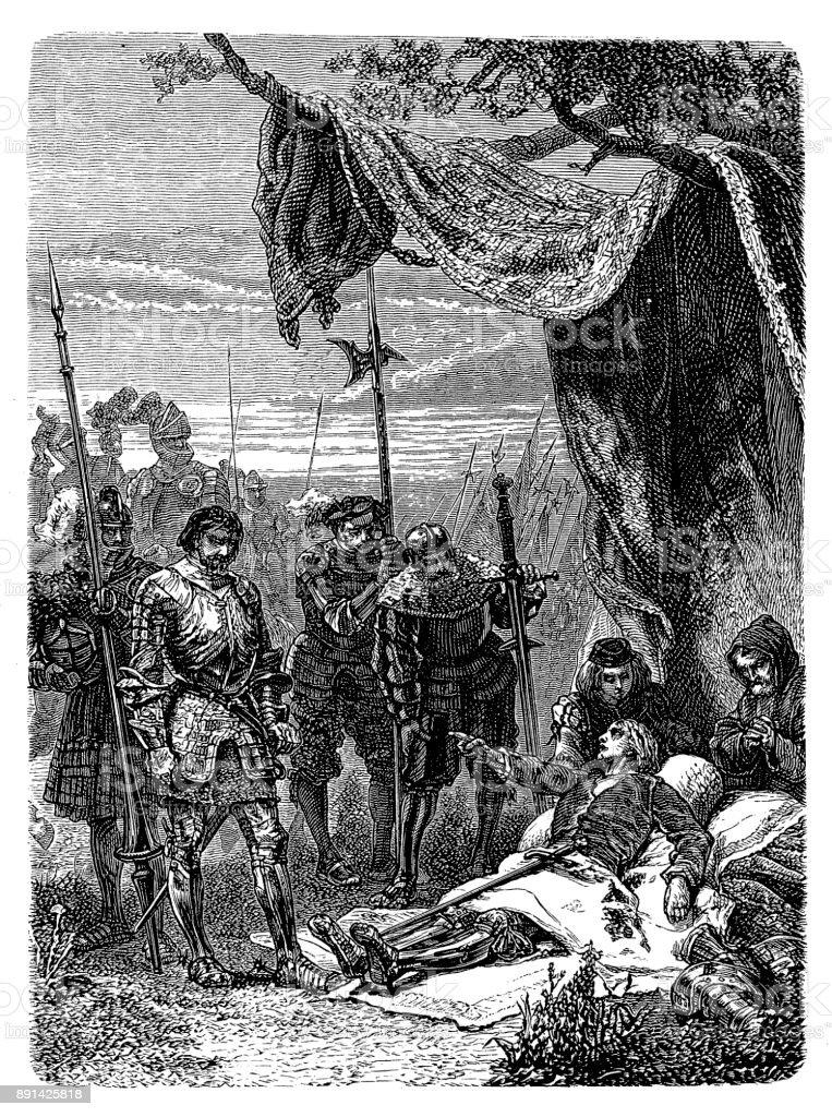 Bayard's death vector art illustration