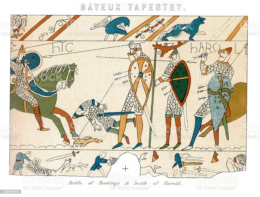 Bayeux Tapestry - Battle of Hastings vector art illustration