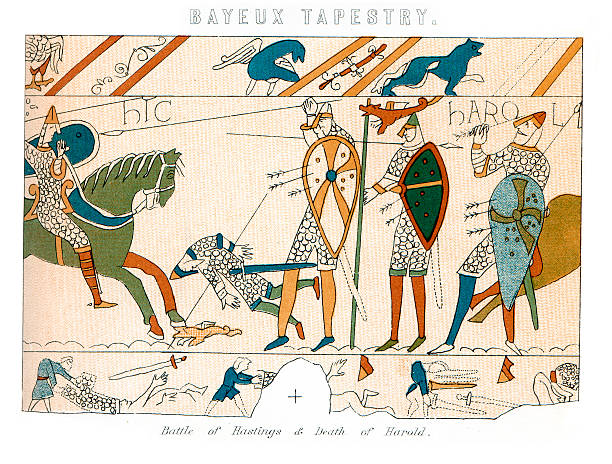 """Bayeux Tapestry - Battle of Hastings """"Vintage engraving showing a detail of the Bayeux Tapestry, the Battle of Hastings and the Death of King Harold."""" tapestry stock illustrations"""