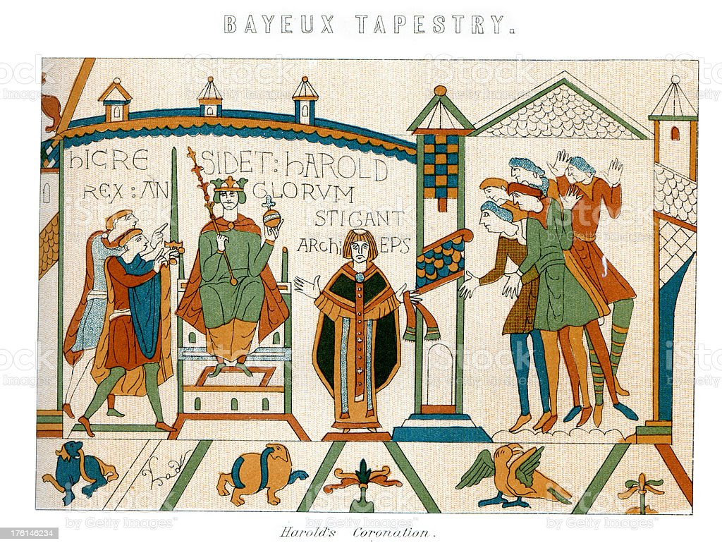 Bayeux Tapestry - Coronation of King Harold vector art illustration
