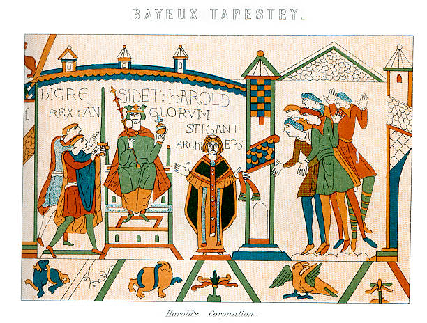 """Bayeux Tapestry - Coronation of King Harold """"Vintage engraving showing a detail of the Bayeux Tapestry, showing the Coronation of King Harold"""" tapestry stock illustrations"""