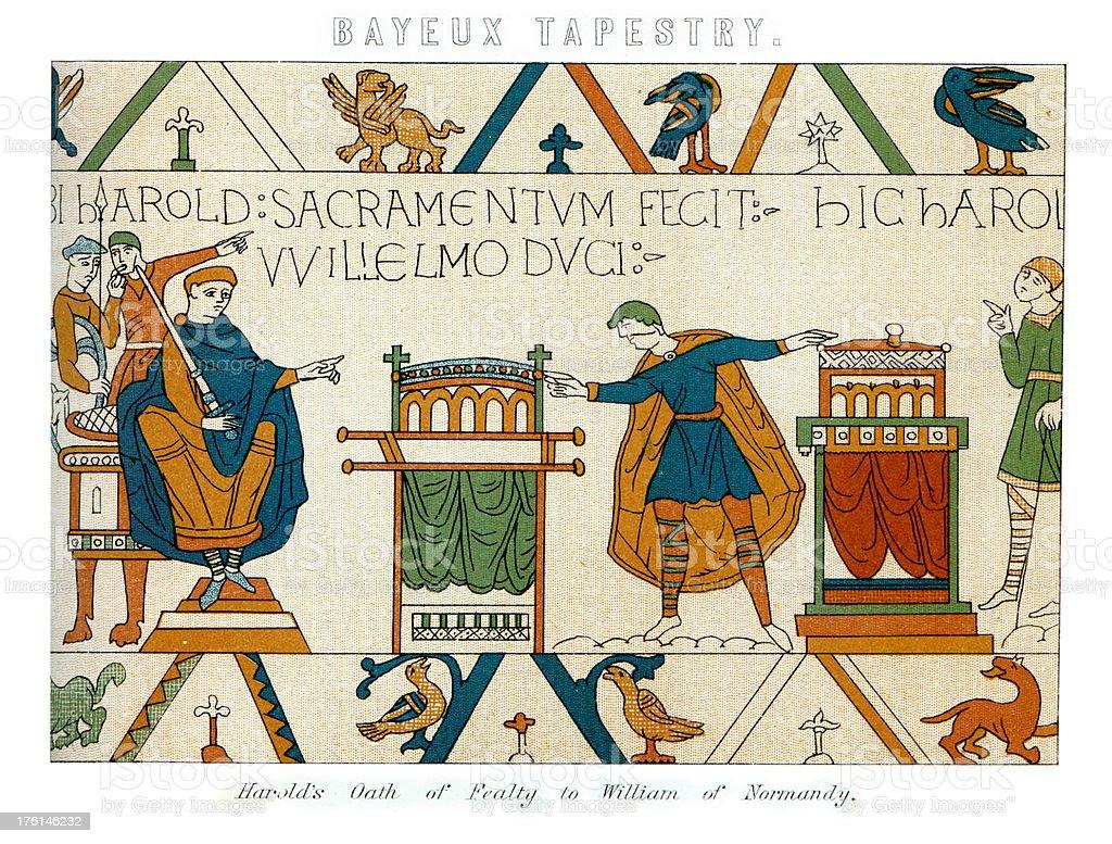Bayeux Tapestry - Harold's Oath vector art illustration