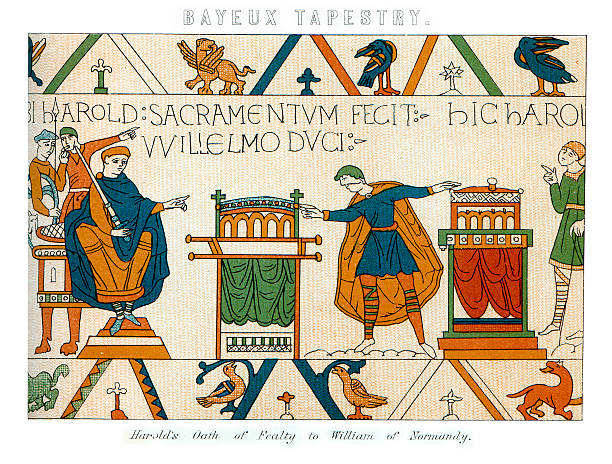 """Bayeux Tapestry - Harold's Oath """"Vintage engraving showing a detail of the Bayeux Tapestry, Harold's Oath of Fealty to William of Normandy"""" tapestry stock illustrations"""