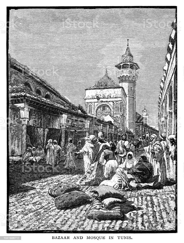 Bazar e Mesquita em Túnis - ilustração de arte em vetor