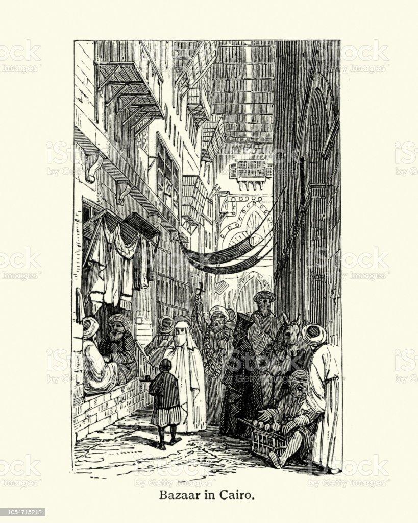 Bazar no Cairo, século XIX - ilustração de arte em vetor