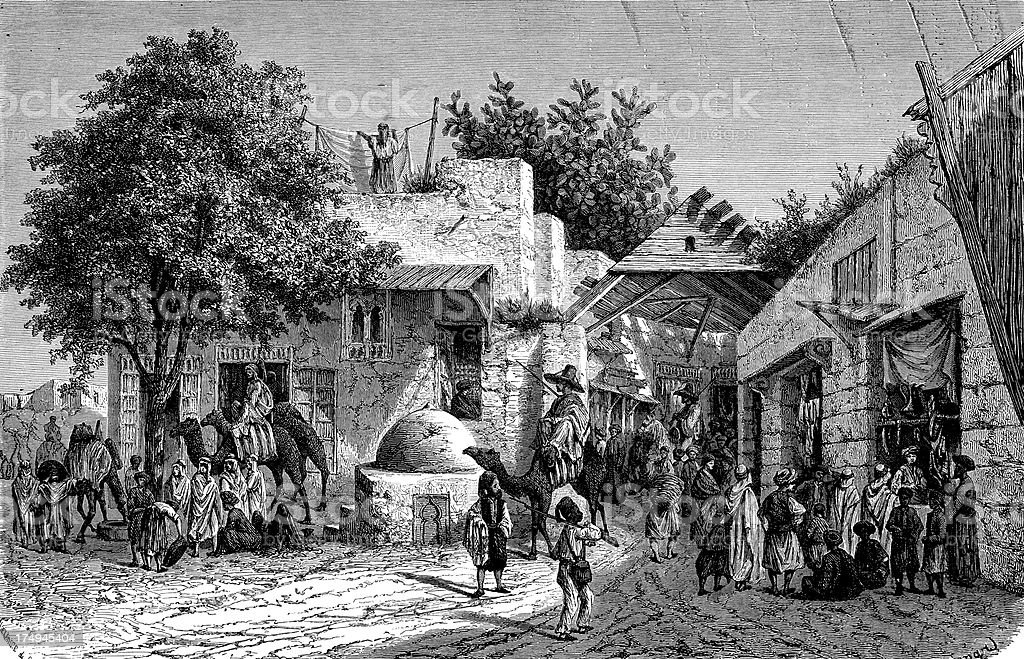 Bazaar em Túnis - ilustração de arte em vetor