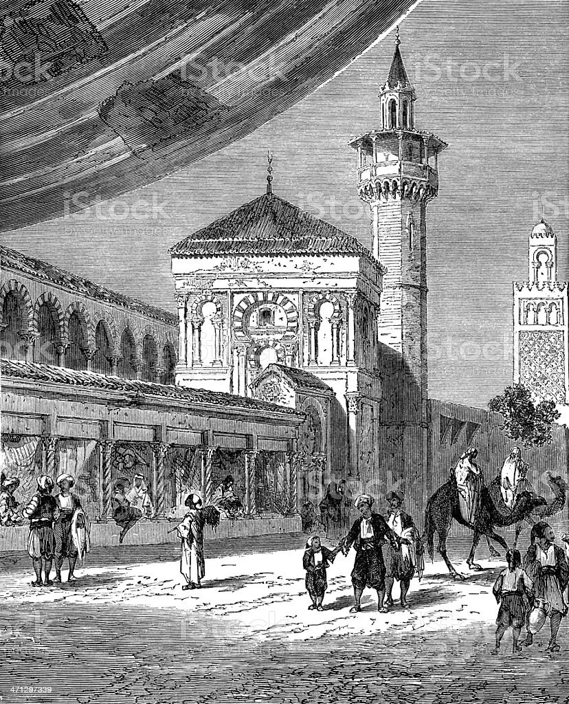 Bazaar in Tunis (1882 engraving) vector art illustration