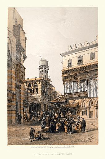 Bazaar of the coppersmiths, Cairo, Egypt, Victorian 19th Century