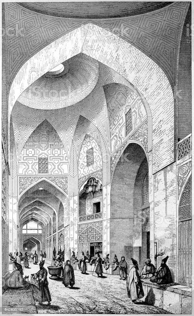 Bazar in Ispahan or Isfahan - ilustração de arte em vetor