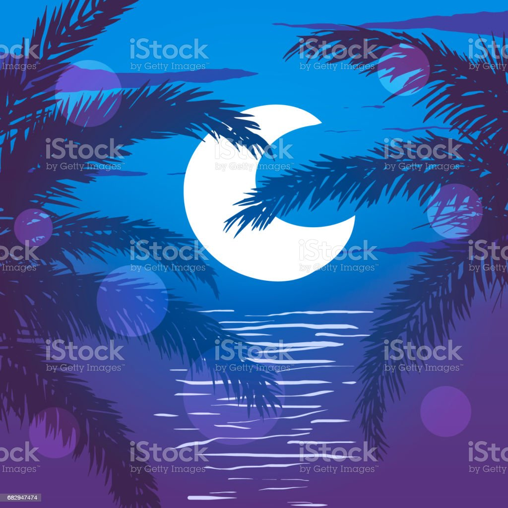 Beach at night. Palm trees on the background of moon and ocean. Vector illustration. royalty-free beach at night palm trees on the background of moon and ocean vector illustration stock vector art & more images of backgrounds