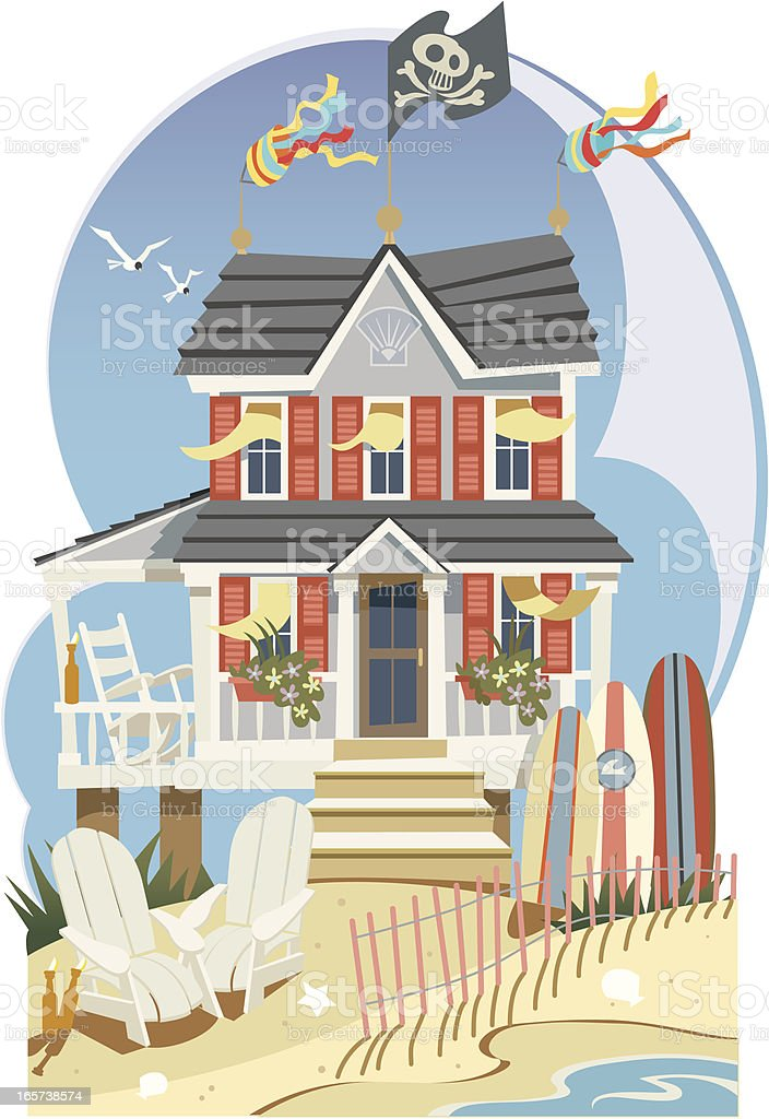Beach House vector art illustration