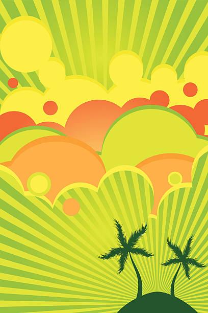 Beach island poster vector art illustration