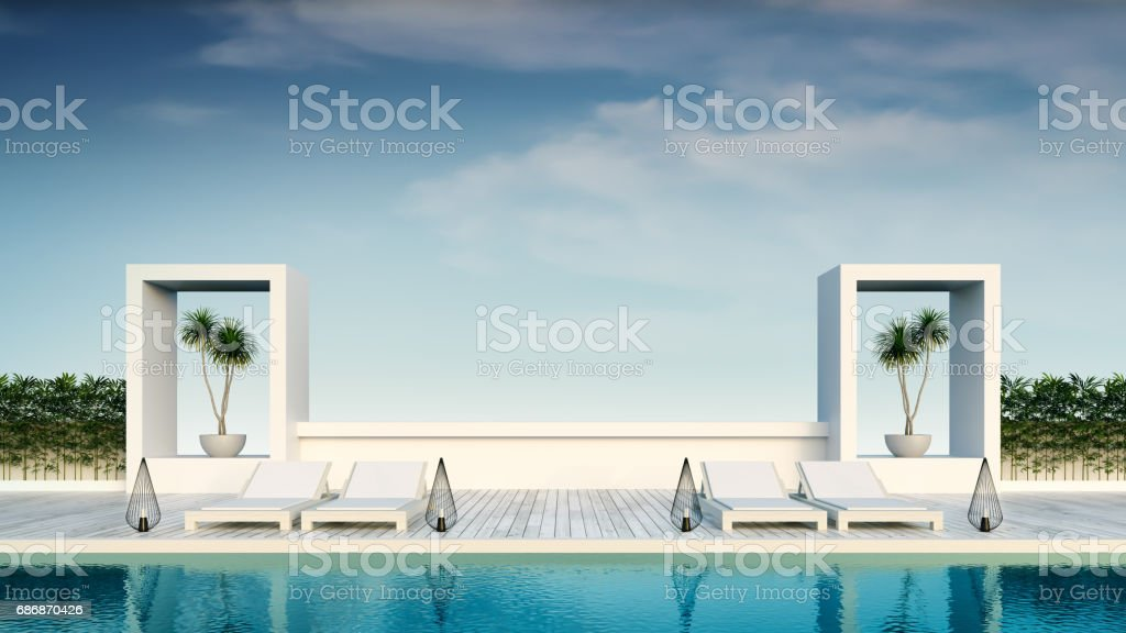 Beach living, Sunbathing deck and private swimming pool at luxury villa/3d rendering vector art illustration