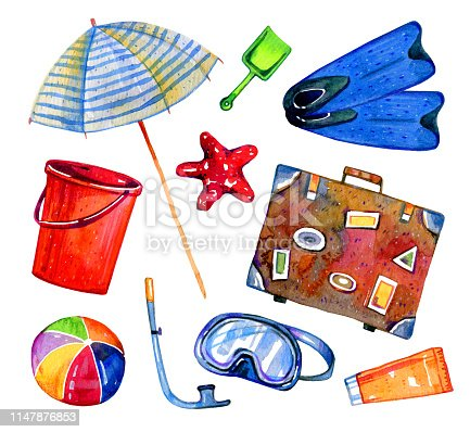 Beach objects - parasol, flippers, suitcase, ball, mask, bucket. Hand drawn watercolor set isolated on white background