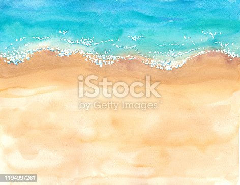 istock Beach overhead watercolor illustration 1194997261