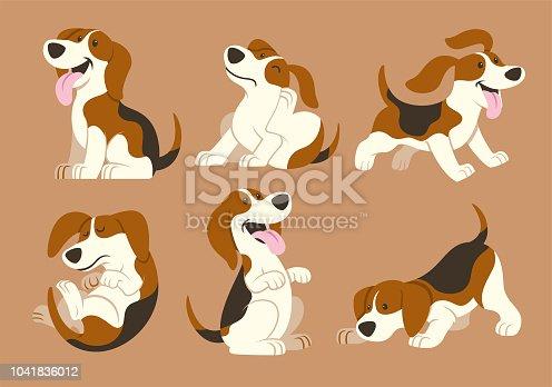 vector of beagle dog cartoon